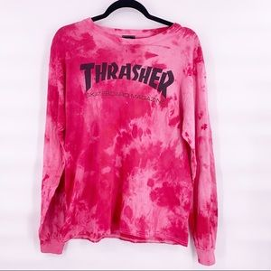 Thrasher tie dye red white top size medium